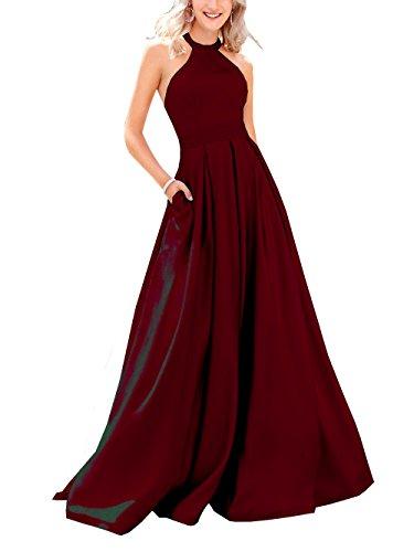 Beauté Pour Femmes De Mariée Robes De Bal De Satin De Haute Cou Longues Robes De Soirée Perles Bordeaux