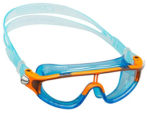 Cressi Wide View Swim Mask for Kids aged 2, 3, 4, 5, 6, 7 years old | Baloo made in Italy, Translucent Blue/Orange (Best Swimming Goggles In The World)