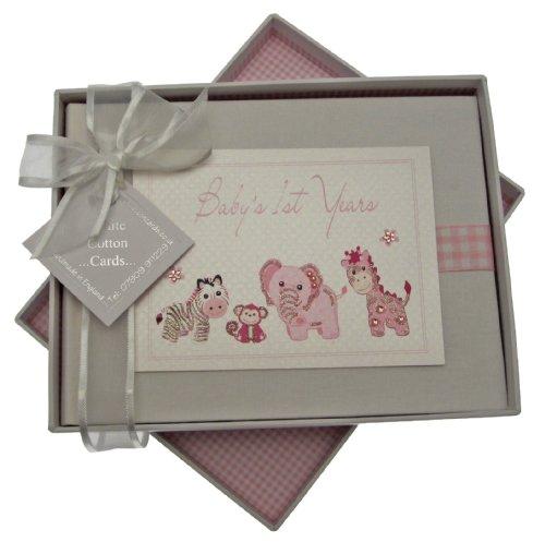 - White Cotton Cards Handmade Baby's 1st Years Small Photo Album (Pink Gingham)