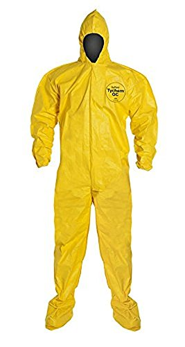 Dupont QC122TYLMD000400 QC Coverall with Hood, Taped Seam, Medium, Yellow (Pack of 4)