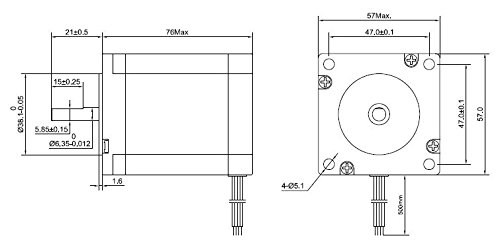 STEPPERONLINE CNC Stepper Motor Nema 23 Bipolar 2.8A 269oz.in//1.9Nm CNC Mill Lathe Router 23HS30-2804S