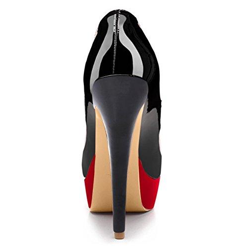 Rutsch Stiletto Rot Pumps High Lackleder Heels Damen Schwarz mit Plateau 0IHwW
