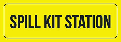 iCandy Combat Yellow Background with Black Font Spill Kit Station Business Retail Outdoor & Indoor Metal Wall Sign - 2 Pack, 3x9 Inch ()