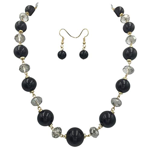 Gypsy Jewels Single Row Simple Beaded Statement Multi Color Necklace & Dangle Earrings Set (Black & -