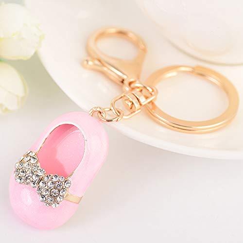 Cute Kawaii Rhinestone Children's Shoes Shape Auto Key Ring Hooks Keychain for Women Purse Bag Charms Ornaments (Pink)