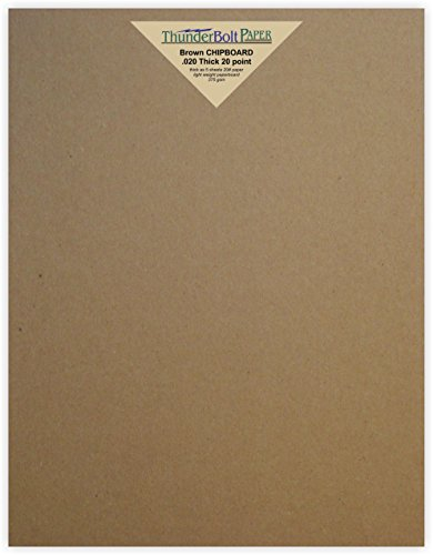 25 Sheets Chipboard 20pt (point) 8.5 X 11 Inches Light Weight Letter Size .020 Caliper Thickness Cardboard Craft|Ship Brown Kraft Paper Board by ThunderBolt Paper