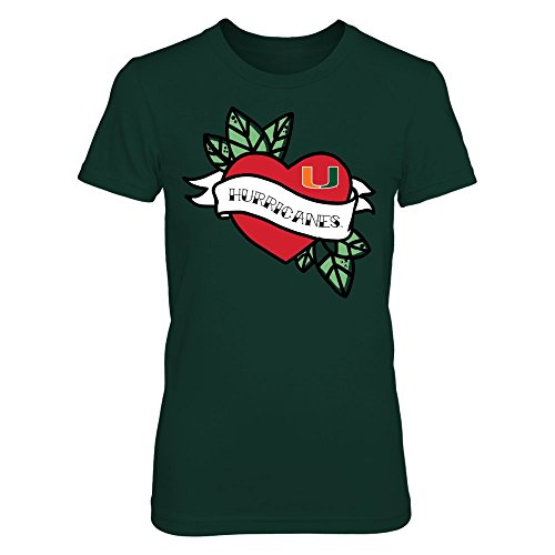 FanPrint Miami Hurricanes T-Shirt - Tattoo Heart - Premium Women's Tee/Forest Green/L ()