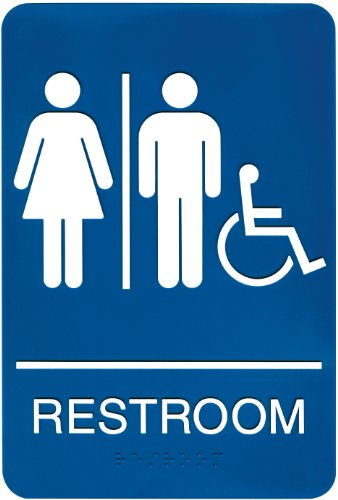 Headline Sign 8377 ADA Wheelchair Accessible Restroom Sign with Tactile Graphic, 6 Inches by 9 Inches, Blue/White