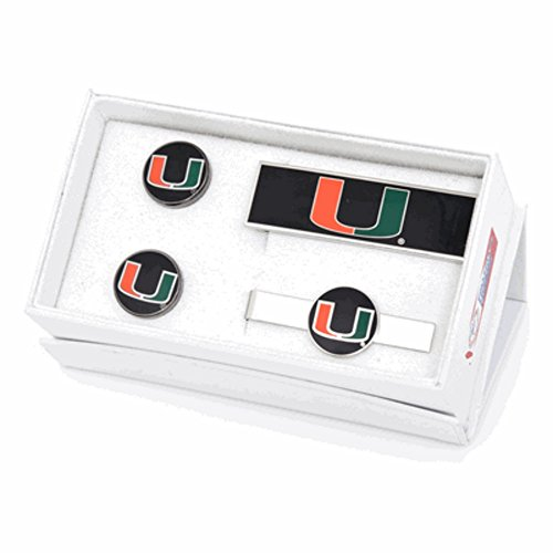 University of Miami Hurricanes Cufflinks, Money Clip and Tie Bar Gift Set by Cufflinks (Image #1)