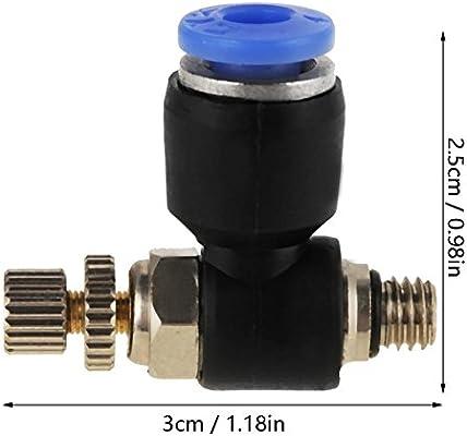 20 piezas OD 4 mm Flujo de aire Control de velocidad V/álvula M5 Conector neum/ático Accesorios r/ápidos