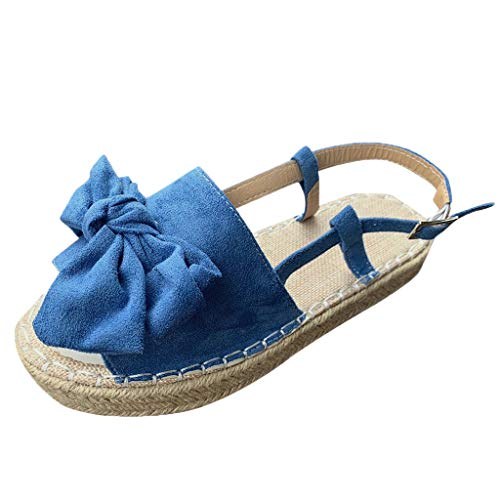 TOOPOOT Sandals for Women, Comfortable Summer Thick Bottom Peep Toe Butterfly Knot Buckle Strap Shoes Blue