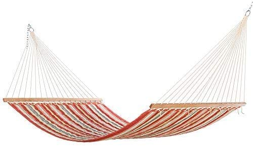 East Coast Hammocks Large Polyester Quilted Hammock – Red and Orange Stripe