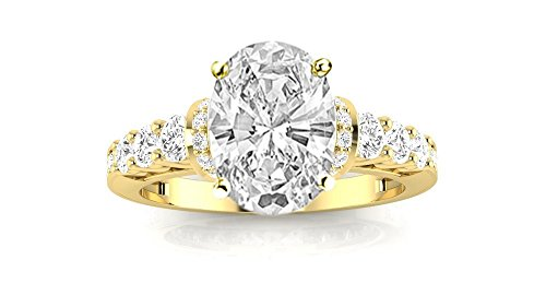1.59 Carat t.w. 14K Yellow Gold Oval Designer Four Prong Pave Set Round Diamonds Engagement Ring E/SI2