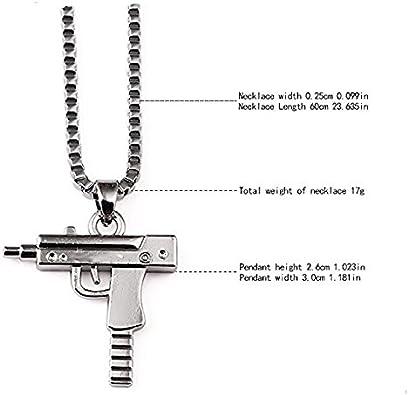 Collier /à pendentif en alliage Hip Hop style mitraillette avec l/'inscription /« Supreme /» grav/ée Goldenchen cha/îne de 60/cm