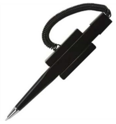 Pack of 5 Counter Coil Corded Wedgy Pen with Adhesive Backing, Black Ink (Coil Counter Pen Wedgy)