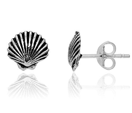 Sterling Silver Oxidized Sea Shell Stud Earrings