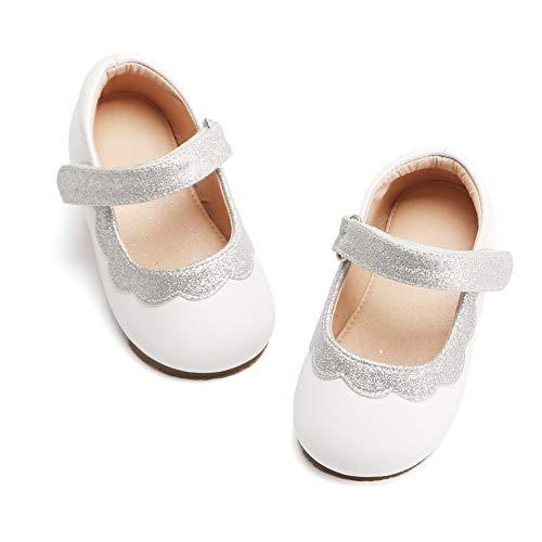 Bear Mall Girl's Mary Jane School Uniform Shoes Princess Dress Ballet Flats Shoes(Toddler/Little Kid)(7 M US-6 Inch, B807 White)]()