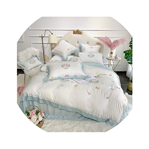 HANBINGPO Sweet Butterflies Embroidery Ultra Soft Tencel Silk Girls Bed Set Queen King Size Bed Sheet Duvet Cover Pillow Shams 4/7pieces,Color 2,King Size 4pcs