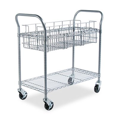 Wire Mail Cart, 600-lb Cap, 18-3/4w x 39d x 38-1/2h, Metallic Gray, Sold as 1 Each by Generic