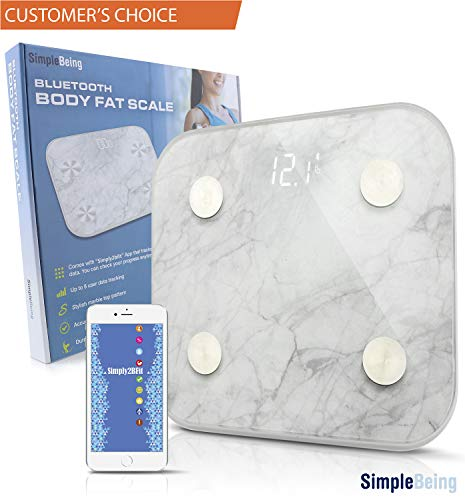 Simple Being Bluetooth Body Fat Scale, Smart Wireless Digital Bathroom Weighing Scale 400LB Capacity, Measures Weight, Water, Muscle Mass, BMI, Bone Mass, Visceral Fat, Calorie, with iOS, Android App