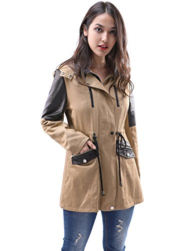 Fancyqube Women's Patchwork Faux Fur Lined Hooded Military Parka Jacket Coat Winter Warm Waist Drawstring Trench Coats Kahki L