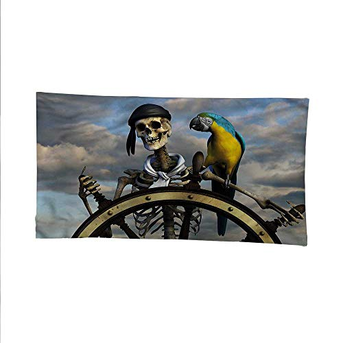 Piratesimple tapestryart tapestryCaptain on Steering Wheel 93W x 70L Inch