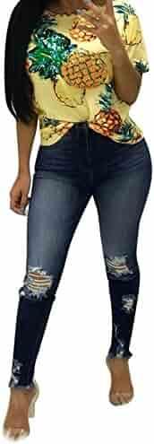 07c1e3d243c iLUGU Women High Waisted Skinny Elastic Denim Pants Holes Broken camo Pants  for Women Pencil Jeans