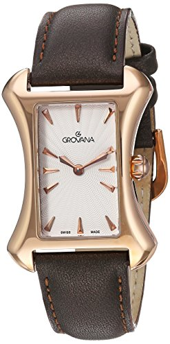 Grovana Women's 'Ladies Dressline' Swiss Quartz Stainless Steel and Leather Casual Watch, Color:Black (Model: 4422-1562)