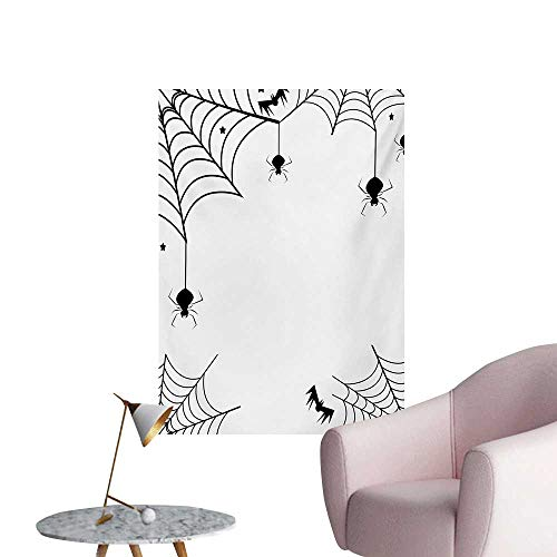 Anzhutwelve Spider Web Photographic Wallpaper Spiders Bats and Little Stars Monochrome Cobwebby Design Spooky Horror ElementsBlack White W20 xL28 Funny Poster