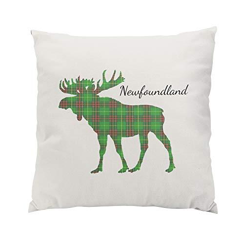 Newfoundland Tartan (Wesbin Newfoundland Tartan Custom Moose Green Plush Hidden Zipper Home Sofa Decorative Throw Pillow Cover Cushion Case Inch 20x20 Square Two Sides Design Printed Pillowcase)