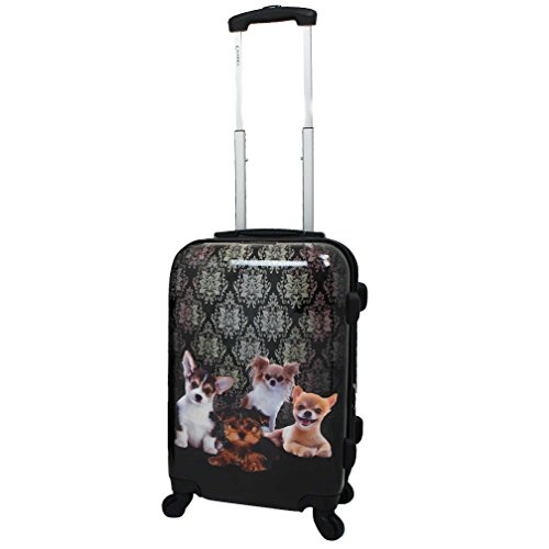 Fancy Toy Dogs Motif Expandable Spinner Lightweight Luggage Suitcase, Fun Graphic Floral Medallion Theme, Hardsided, Hardshell, Multi Compartment, Fashionable Handle Travel Case, Black, Grey, Size 20'' by S & E