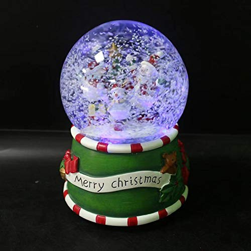 SMYER Christmas Musical Lighted Snow Globe with Snow Blowing Battery Operated, LED Water Ball,100MM Diameter (Snowman)