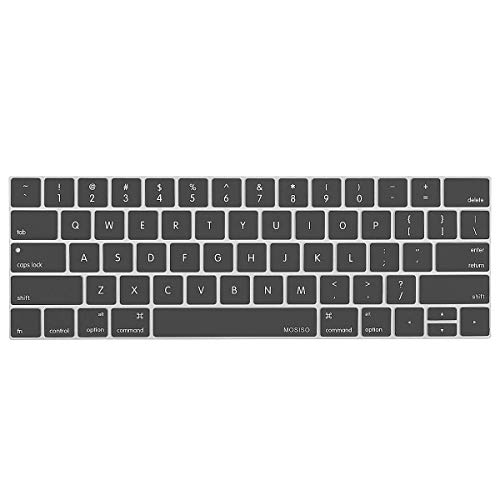 MOSISO Keyboard Cover Compatible with MacBook Pro with Touch Bar 13 and 15 Inch 2019 2018 2017 2016 (Model: A2159, A1989, A1990, A1706, A1707), Silicone Skin Protector, Space Gray