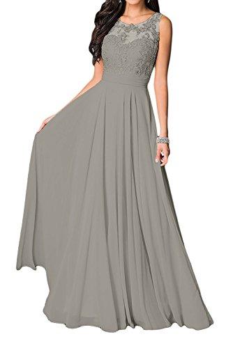 Langes U Fuchsia Kleider Marie mit Braut Kleider Damen Spitze Grau Ausschnitt Brautmutter Abendkleider Jugendweihe La IUTYwqq