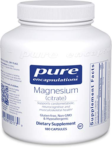 Pure Encapsulations - Magnesium (Citrate) - Hypoallergenic Supplement Supports Nutrient Utilization and Physiological Functions* - 180 Capsules