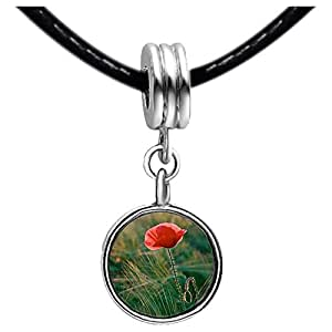Chicforest Silver Plated corn poppy Memorial Day Photo White Crystal(April Birthstone) Flower dangle Charm Beads Bracelets European Bracelets Compatible
