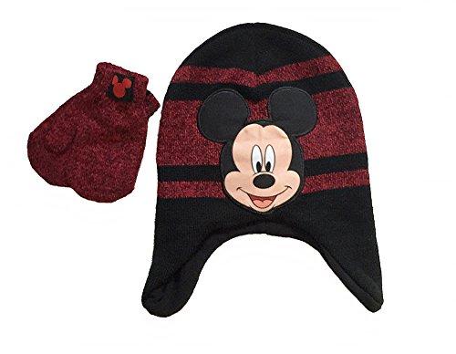 Disney Mickey Mouse Toddler Boys Winter Hat & Mitten Set (Stripe)