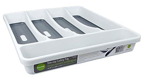 Antideslizante Bandeja de cajón para cubiertos y utensilios organizador: Amazon.es: Hogar
