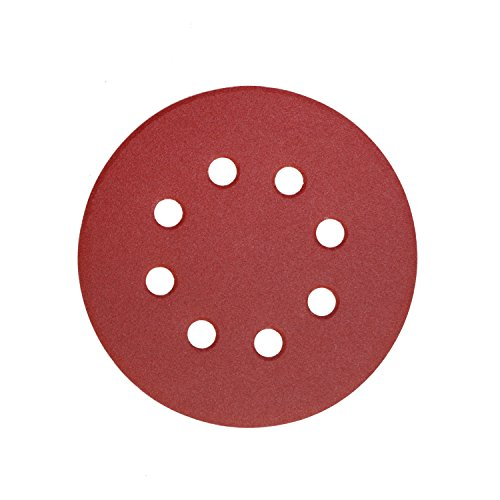 Denveo Dry Sanding Disc 60/80/120/180/240/320 Grit 5 Inch and Sandpaper Assortment, Hook and Loop System Red Paint and Steel Sanding for Random Orbital Sander, Pack of 60 (8 Holes) by Denveo (Image #2)