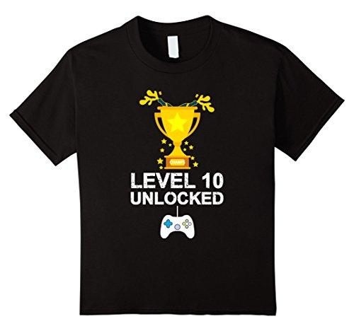 unisex-child Funny 10th Birthday Level 10 Unlocked T-shirt Gamer Gift Kid 12 (10th Birthday Party Ideas For Girl)