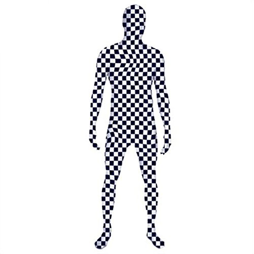 [Muka Lycra Printed Zentai Supersuit Halloween Costume Full Cosplay BodySuit - CHECKERBOARD,M] (Madonna Costume Plus Size)