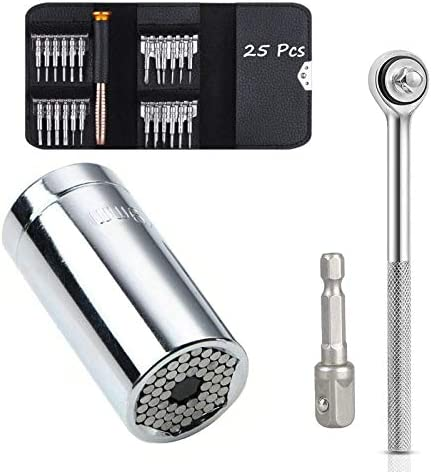 Universal Socket Wrench Tools Set (7mm-19mm) with Precision Screwdrivers, 25-1 Repair Kit, Screwdriver Set with Leather Case, Best Tools Gifts for Men, Father, Dad, Husband, Boyfriend, Gift Box