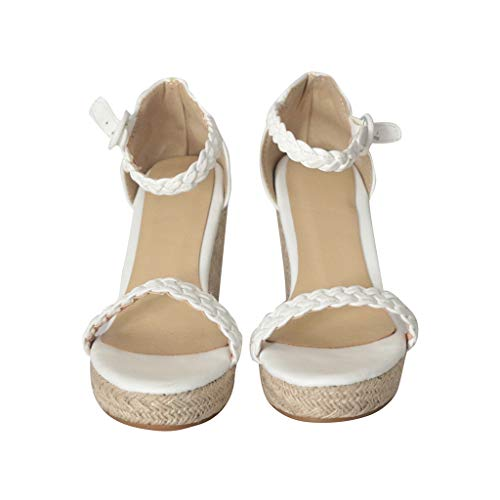 Sharemen Womens Platform Espadrille Wedges Peep Toe High Heel Sandals with Ankle Strap Buckle Up(White,US: 7.5) by Sharemen Shoes (Image #2)