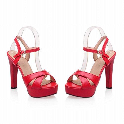 Solid Fashion Sandals Color Women's Buckle Red Heel High Platform Carolbar PwxFqaI