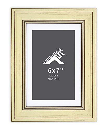 Golden State Art, 5x7 Frame for 4x6 Photo with White Mat, Table-Top Easel Stand, Real Glass (Vertical + Horizontal) (Cream Shabby Chic) (Shabby Ivory Chic Easel)