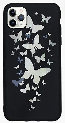 りんご アイフォン Apple iPhone 11 Pro ケース カバー 対応 専用 蝶 可愛い iPhone11 pro アイホン 11pro アイフォン あいふぉん 人気 butterfly i Phone スマホケース 女性 耐衝撃 薄い Case iPhone11pro 携帯ケース 2019(5.8インチ)黒