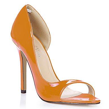 LvYuan Mujer-Tacón Stiletto-Confort-Sandalias-Oficina y Trabajo Vestido Informal-PU-Negro Azul Amarillo Rosa Morado Rojo Blanco Naranja Piel Yellow