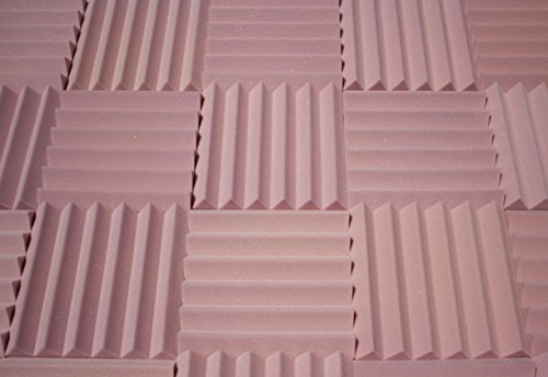 Soundproofing Acoustic Studio Foam - Rosy Beige Color - Wedge Style Panels 12x12x2 Tiles - 4 Pack