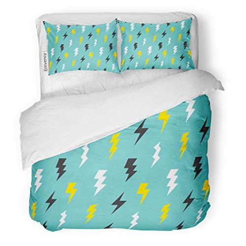 Semtomn Decor Duvet Cover Set Twin Size Colorful Lightening Abstract Thunder in Vintage Bolt Pattern Cartoon 3 Piece Brushed Microfiber Fabric Print Bedding Set Cover -
