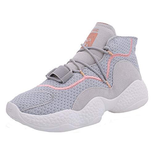 Casuales de Moda Respirable GUNAINDMX otoño Femenina Deporte Malla Cordones Pisos Mujer Mujeres Gray con de Zapatos Zapatillas Plataforma 6xSxqtB5
